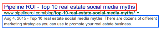 Google page title and page description